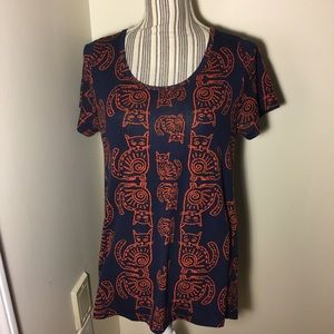 LLR Classic Tee Cat Pattern Navy & Orange Small